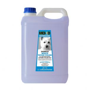 MD10 White Texture Shampoo - 5 Litre (20 Litre Diluted) Samoyed Spanish Water Dog Poodle Bichon Frise, Bolognese, Curly Coat, Shiba, Lagotto Romagnolo